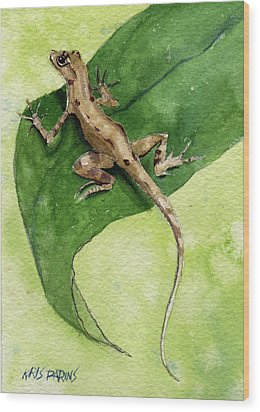 Wood Print featuring the painting The Feckless Gecko by Kris Parins