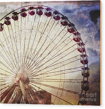 The Ferris Wheel At Navy Pier Wood Print by Mary Machare