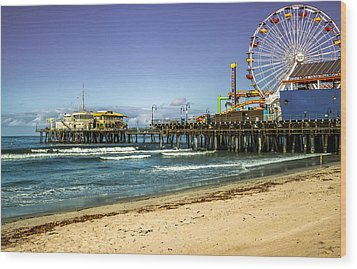 The Ferris Wheel - Santa Monica Pier Wood Print