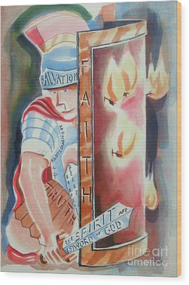 Wood Print featuring the painting The Fiery Darts Of The Evil One 2 by Kip DeVore