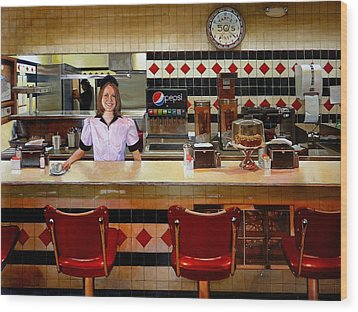 The Fifties Diner Wood Print by Doug Strickland