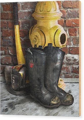 The Fireman Wood Print by Bill Fleming