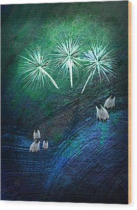 Wood Print featuring the digital art The Fireworks Are Starting by Jean Moore