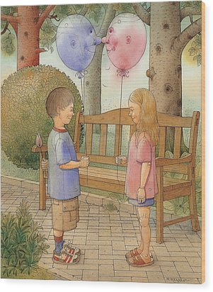 The First Date Wood Print by Kestutis Kasparavicius