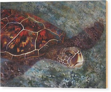 The First Honu Wood Print by Kerri Ligatich