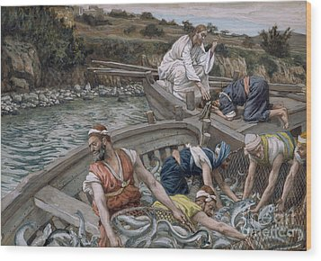 The First Miraculous Draught Of Fish Wood Print by Tissot