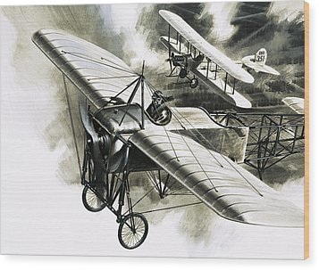 The First Reconnaissance Flight By The Rfc Wood Print by Wilf Hardy