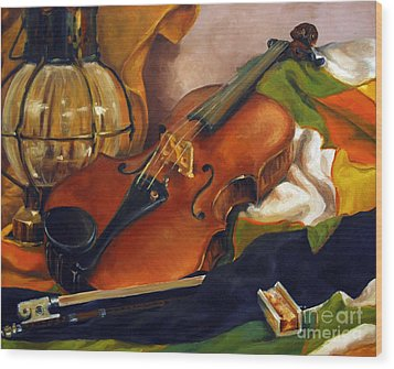 The First Violin Wood Print by Suzanne McKee