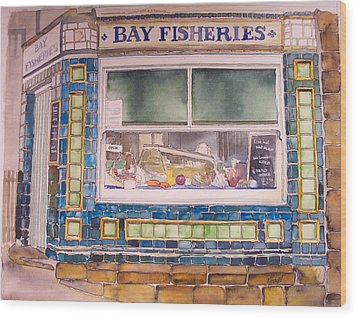 The Fish And Chip Shop Wood Print by Victoria Heryet