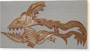 Wood Print featuring the mixed media The Fish Skeleton by Robert Margetts