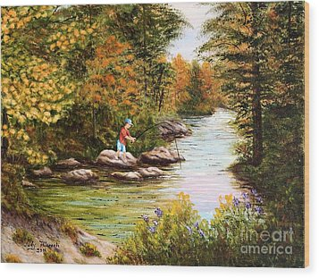 Wood Print featuring the painting The Fisher Boy  by Judy Filarecki