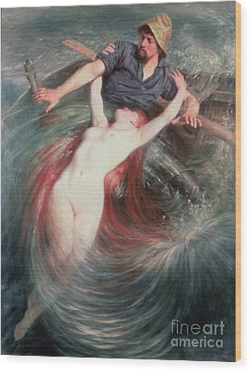 The Fisherman And The Siren Wood Print by Knut Ekvall