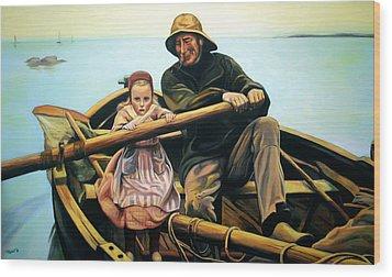 The Fisherman Wood Print by Jose Roldan Rendon