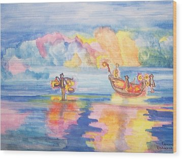 The Fishermen Come Home Wood Print by Connie Valasco