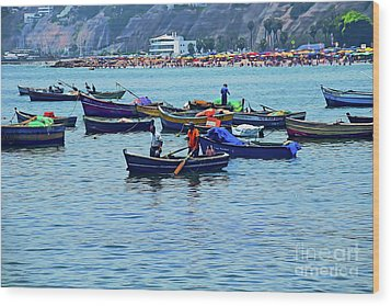 Wood Print featuring the photograph The Fishermen - Miraflores, Peru by Mary Machare
