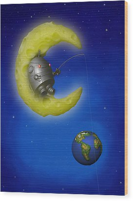 The Fishing Moon Wood Print by Michael Knight