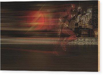 Wood Print featuring the digital art The Flash  by Louis Ferreira