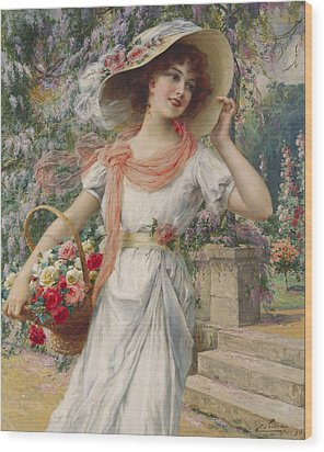 The Flower Girl Wood Print by Emile Vernon