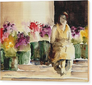The Flower Lady Wood Print