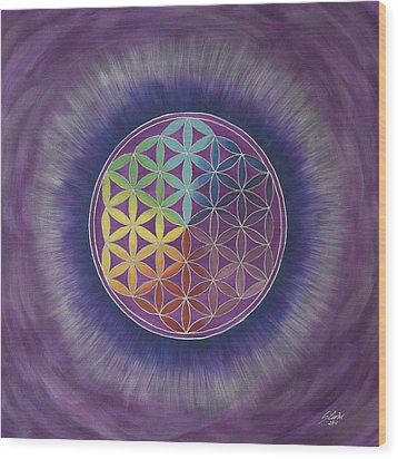 The Flower Of Life Wood Print by Silvia Flores