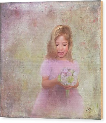 Wood Print featuring the mixed media The Flower Princess by Colleen Taylor