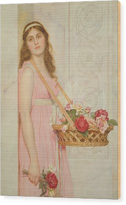 The Flower Seller Wood Print by George Lawrence Bulleid