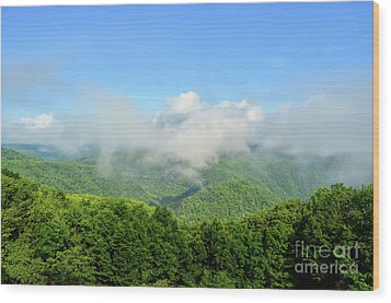 Wood Print featuring the photograph The Fog Rises Over The Bluestone Gorge - Pipestem State Park by Kerri Farley