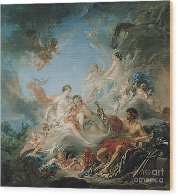 The Forge Of Vulcan Wood Print by Francois Boucher