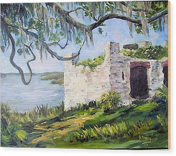 The Fort At Frederica Wood Print by Albert Fendig
