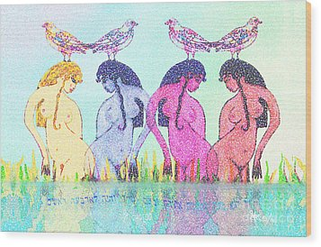 The Four Daughters Of Eve  -aka-  Four Rivers Wood Print