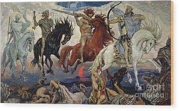 The Four Horsemen Of The Apocalypse Wood Print by Victor Mikhailovich Vasnetsov