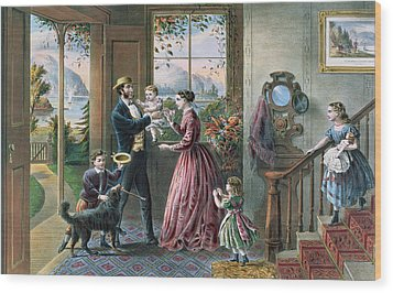 The Four Seasons Of Life  Middle Age Wood Print by Currier and Ives