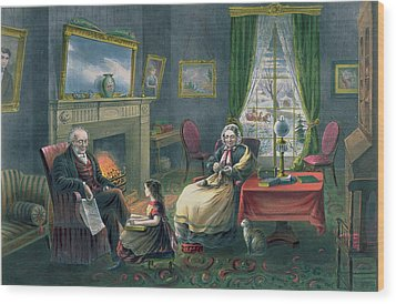 The Four Seasons Of Life  Old Age Wood Print by Currier and Ives