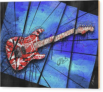 The Frankenstrat On Blue I Wood Print by Gary Bodnar