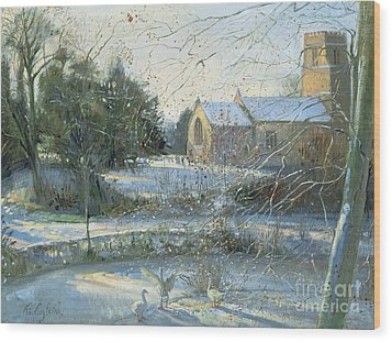 The Frozen Moat - Bedfield Wood Print by Timothy Easton