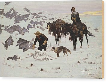 The Frozen Sheepherder Wood Print by Frederic Remington