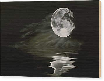 The Fullest Moon Wood Print by Elisabeth Dubois