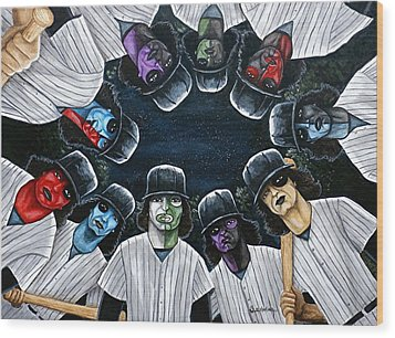 Wood Print featuring the painting The Furies Game Over by Al  Molina