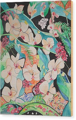 Wood Print featuring the painting The Gallery Of Orchids 1 by Esther Newman-Cohen