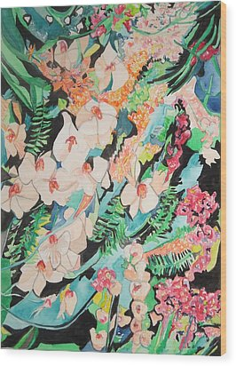 Wood Print featuring the painting The Gallery Of Orchids 2 by Esther Newman-Cohen