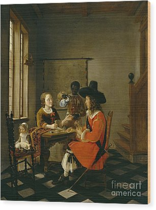 The Game Of Cards Wood Print by Hendrik van der Burch