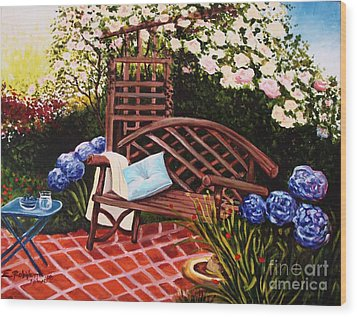 Wood Print featuring the painting The Garden by Elizabeth Robinette Tyndall
