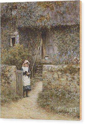 The Garden Gate Wood Print by Helen Allingham