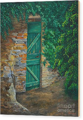 The Garden Gate In Cinque Terre Wood Print by Charlotte Blanchard