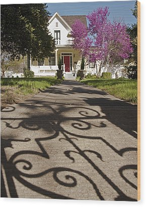 The Garden Gate Shadow Wood Print by Charlie Osborn