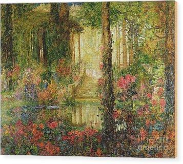The Garden Of Enchantment Wood Print by Thomas Edwin Mostyn