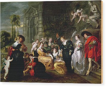 The Garden Of Love Wood Print by Peter Paul Rubens