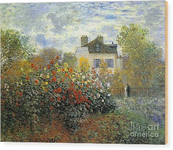 The Garden Of Monet At Argenteuil Wood Print by Monet
