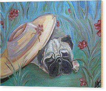 The Garden Pug Wood Print