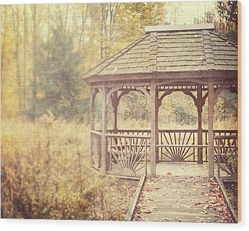 The Gazebo In The Woods Wood Print by Lisa Russo